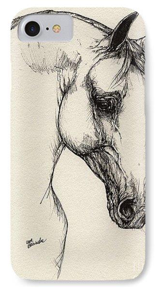 Arabian Horse Drawing 32 Phone Case by Angel  Tarantella