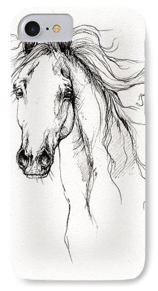 Arabian Horse Drawing 4 Phone Case by Angel  Tarantella