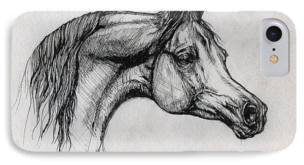 Arabian Horse Drawing 40 Phone Case by Angel  Tarantella