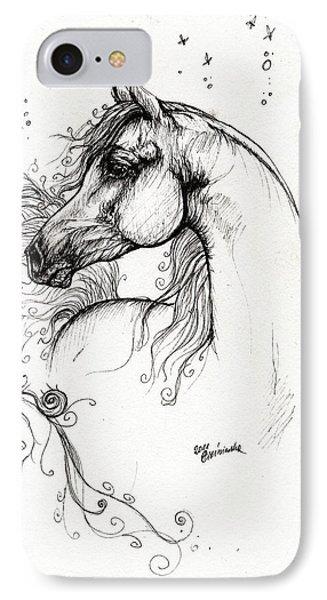Arabian Horse Drawing 8 Phone Case by Angel  Tarantella