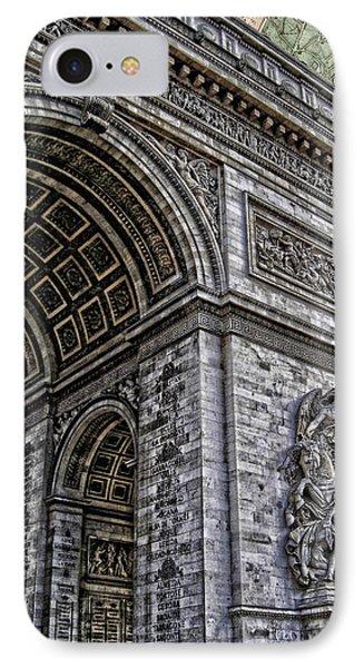 Arc De Triomphe - French Map Of Paris Phone Case by Lee Dos Santos