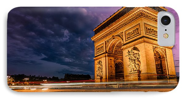 Arc De Triomphe At Dusk In Paris IPhone Case by James Udall