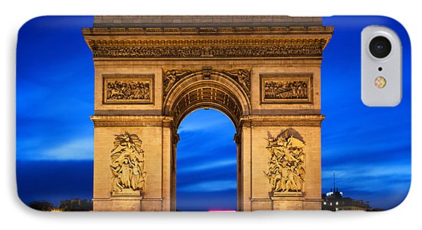 Arc De Triomphe At Night Paris France  IPhone Case