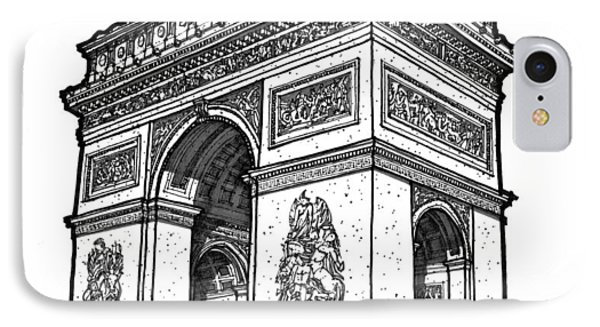 IPhone Case featuring the drawing Arc De Triomphe by Calvin Durham