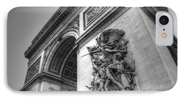 Arc De Triomphe In Black And White IPhone Case
