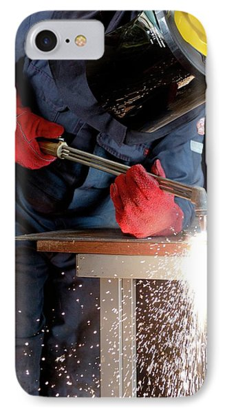 Arc Welder At Work IPhone Case by Crown Copyright/health & Safety Laboratory Science Photo Library