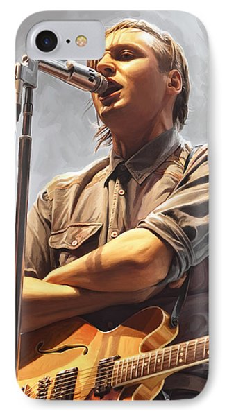 IPhone Case featuring the painting Arcade Fire Win Butler Artwork by Sheraz A