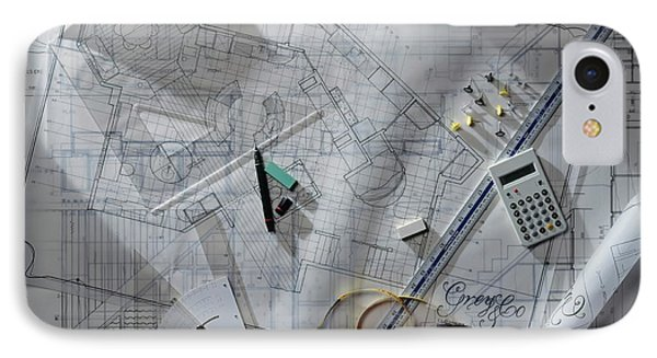 Architectural Blueprints With Rulers IPhone Case by Dorling Kindersley/uig