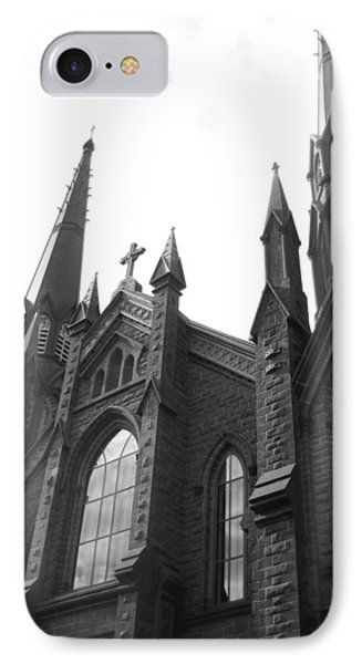 architecture churches . Gothic Spires in Black and White  Phone Case by Ann Powell