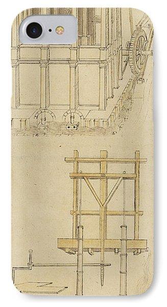 Architecture With Indoor Fountain From Atlantic Codex  Phone Case by Leonardo Da Vinci