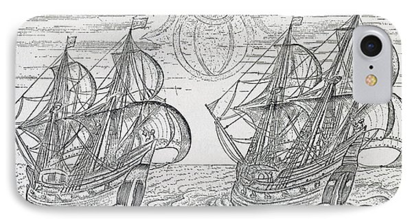 Arctic Phenomena From Gerrit De Veer S Description Of His Voyages Amsterdam 1600 IPhone Case by Netherlandish School
