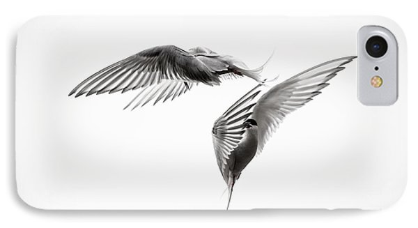Arctic Tern - Sterna Paradisaea - Pas De Deux - Black And White IPhone Case by Ian Monk