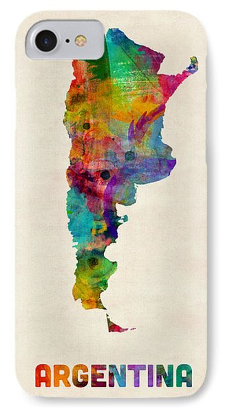 Argentina Watercolor Map Phone Case by Michael Tompsett