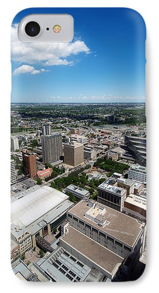 Arial View Of Calgary Facing North East Phone Case by Lisa Knechtel