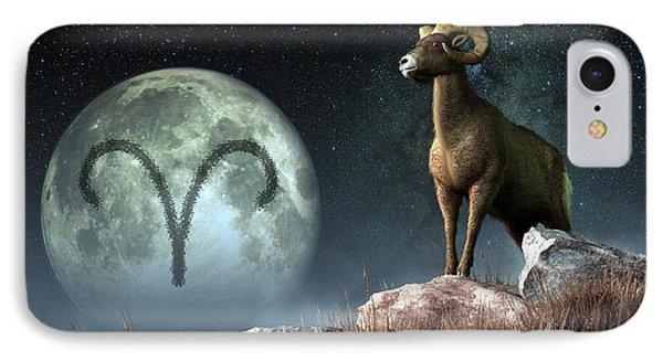 Aries Zodiac Symbol IPhone Case by Daniel Eskridge