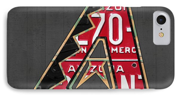 Arizona Diamondbacks Baseball Team Vintage Logo Recycled License Plate Art IPhone 7 Case by Design Turnpike