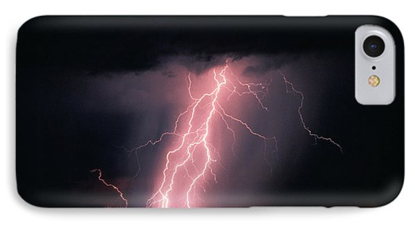 Arizona  Lightning Over City Lights Phone Case by Anonymous
