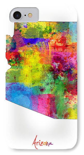 Arizona Map IPhone 7 Case by Michael Tompsett