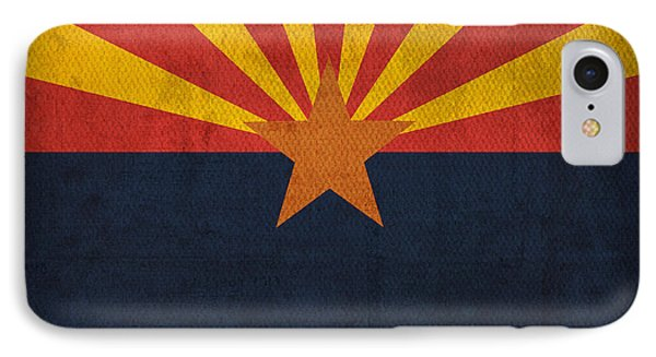 Arizona State Flag Art On Worn Canvas Phone Case by Design Turnpike