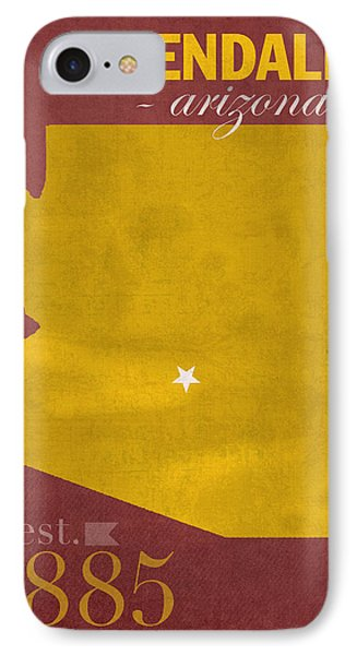 Arizona State University Sun Devils Glendale College Town State Map Poster Series No 012 IPhone Case