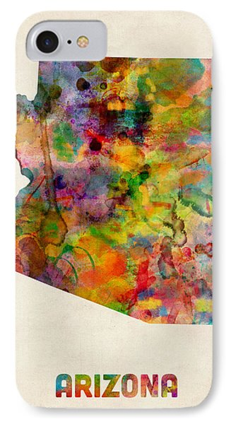 Arizona Watercolor Map IPhone Case by Michael Tompsett