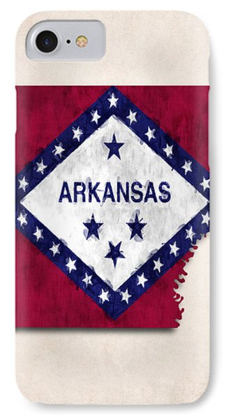 Arkansas Map Art With Flag Design IPhone Case