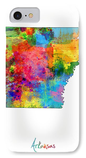 Arkansas Map IPhone Case by Michael Tompsett