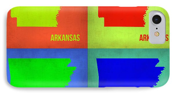 Arkansas Pop Art Map 1 IPhone Case by Naxart Studio
