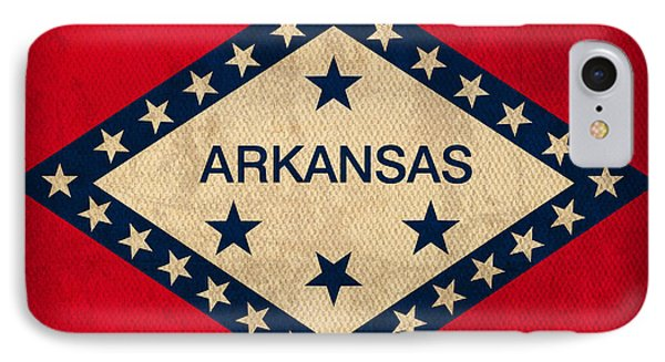 Arkansas State Flag Art On Worn Canvas IPhone Case by Design Turnpike