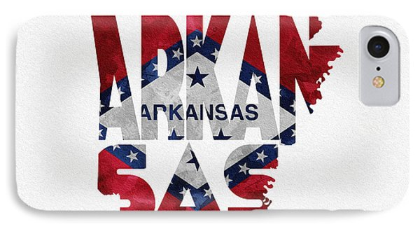 Arkansas Typographic Map Flag IPhone Case