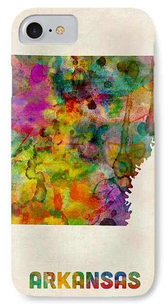 Arkansas Watercolor Map IPhone Case by Michael Tompsett