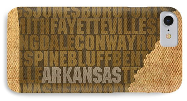 Arkansas Word Art State Map On Canvas IPhone Case by Design Turnpike