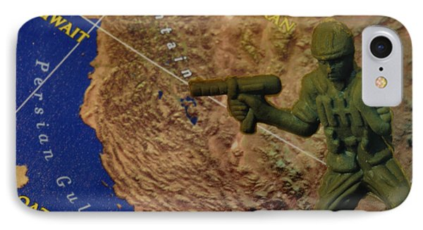 Armed Toy Solider With Middle East Map Phone Case by Amy Cicconi