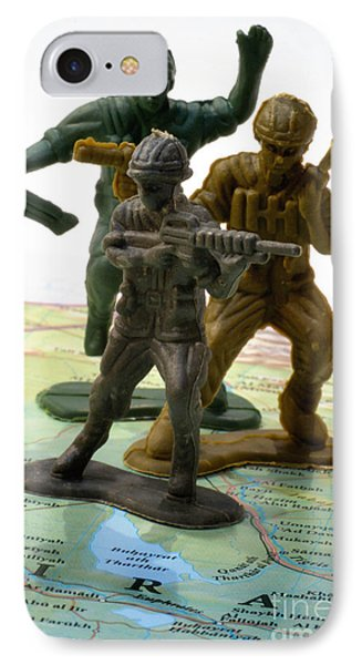 Armed Toy Soliders On Iraq Map Phone Case by Amy Cicconi