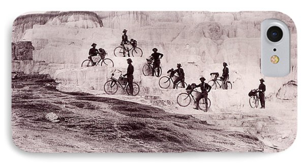 Army Bicyclists Mammoth Hot Springs IPhone Case by NPS Photo
