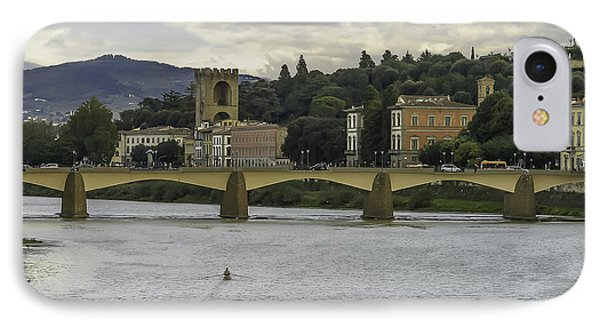 Arno River And Architecture In Florence Phone Case by Karen Stephenson