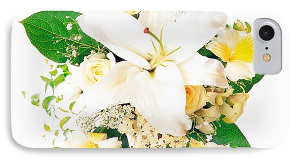 Arranged Flowers And Leaves On White IPhone Case by Panoramic Images