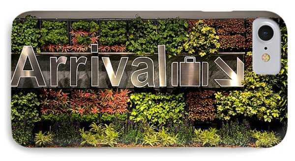 Arrival Sign Arrow And Flowers At Singapore Changi Airport Phone Case by Imran Ahmed