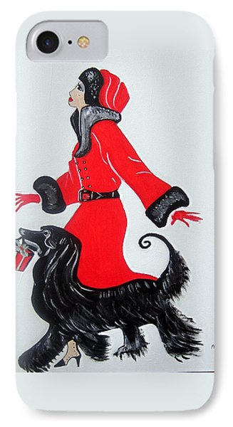 IPhone Case featuring the painting Art Deco  Girl With Red  Coat by Nora Shepley
