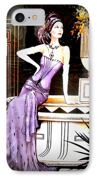 Art Deco Lady In Purple Phone Case by The Creative Minds Art and Photography