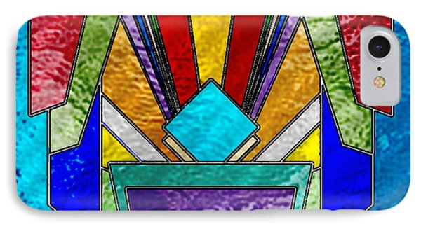 Art Deco - Stained Glass 6 IPhone Case by Chuck Staley