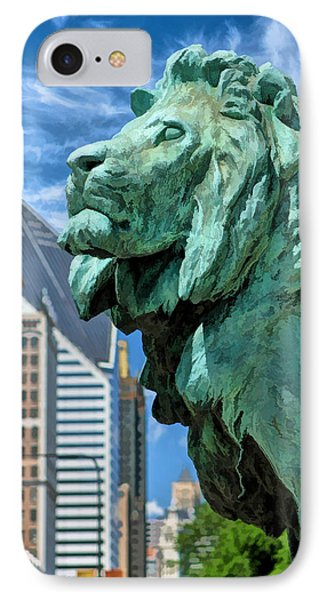 Art Institute In Chicago Lion IPhone Case by Christopher Arndt