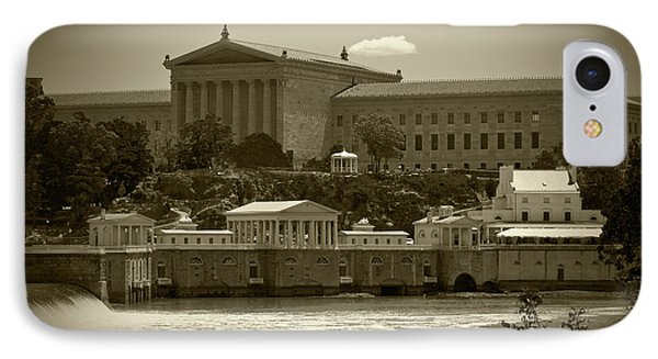 Art Museum And Fairmount Waterworks - Bw IPhone Case by Lou Ford