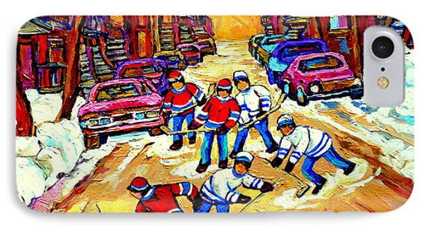 Art Of Montreal Hockey Street Scene After School Winter Game Painting By Carole Spandau Phone Case by Carole Spandau