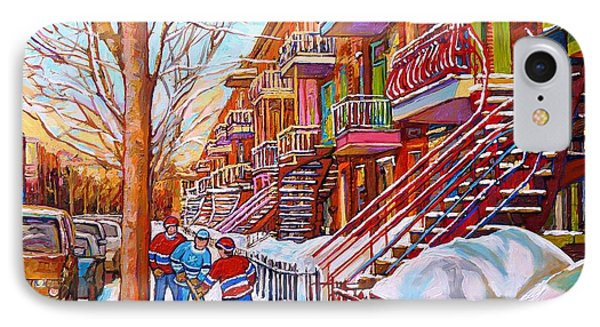 Art Of Montreal Staircases In Winter Street Hockey Game City Streetscenes By Carole Spandau IPhone Case by Carole Spandau