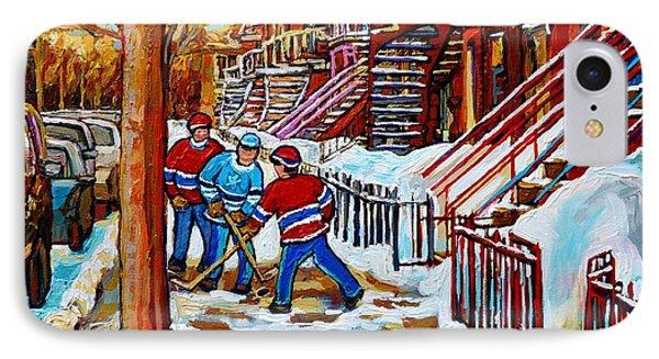 Art Of Verdun Staircases Montreal Street Hockey Game City Scenes By Carole Spandau Phone Case by Carole Spandau
