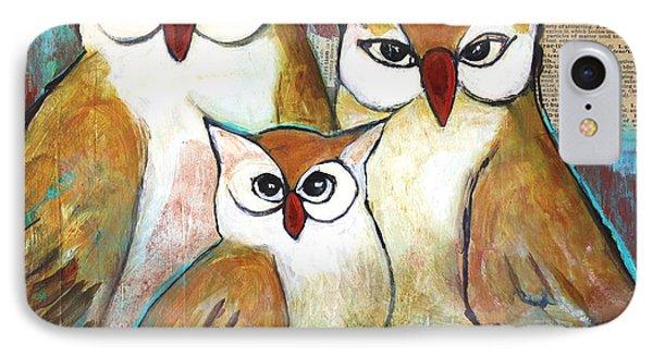 Art Owl Family Portrait IPhone Case by Blenda Studio