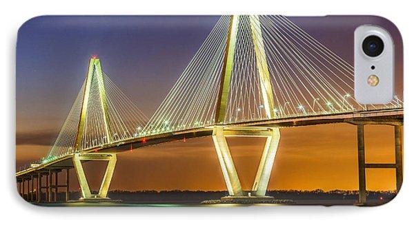 Arthur Ravenel Bridge Twilight IPhone Case by Anthony Heflin