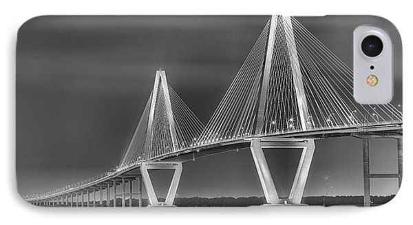 Arthur Ravenel Jr. Bridge In Black And White IPhone Case by Adam Jewell