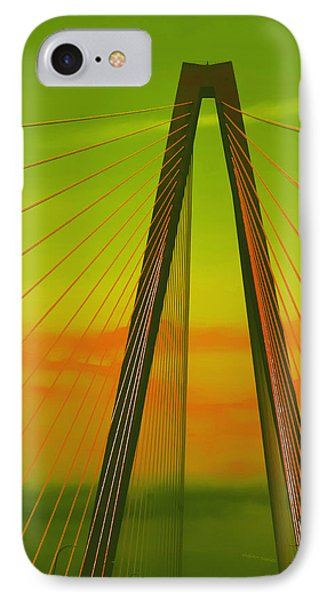 Arthur Ravenel Jr Bridge V Phone Case by DigiArt Diaries by Vicky B Fuller